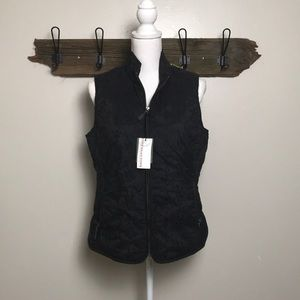 Eddie Bauer Down Vest Embroidered Black Medium NWT